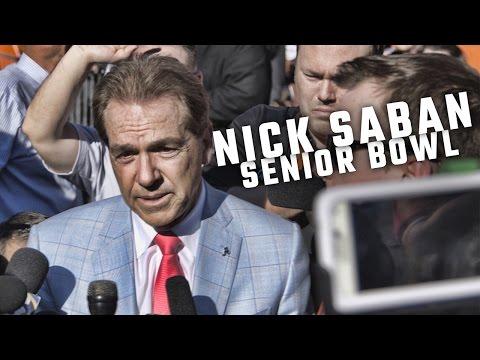 Nick Saban talks with the media at the Senior Bowl