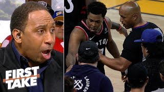 Stephen A. calls fan who shoved defenseless Kyle Lowry a 'punk' | First Take