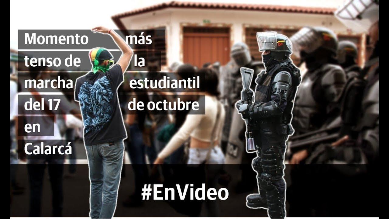 El momento más tenso de la marcha estudiantil del 17 de octubre en Calarcá
