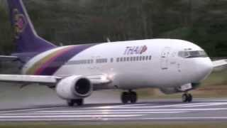 Thai Airways Boeing 737-400 Landings - Takeoffs Koh Samui Airport 737-400