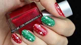 Easy Starry Christmas Nail Art - YouTube