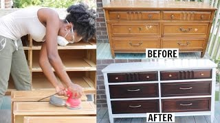 Hey Loves!! In this video, I will share how I transformed this old dresser into a new, up to date, modern dresser for my clients nursery! Thumbs up for more furniture makeovers!!Paint Color: BEHR Stain Color: General Finishes JavaNot shown in the video....I applied Polycrylic and Polyurethane as my top coats.Check out my previous furniture makeover:http://bit.ly/2ns0tM2Check out my new VLOG Channel!!! http://bit.ly/1VMWHtqK E E P U P W I T H M E Instagram: @aprilbeee_http://bit.ly/1Rv8bBwSnapchat: @aprilbeee1Facebook: April Beeehttp://on.fb.me/1MqdCeDTwitter: @aprilbeee_http://bit.ly/1HqTEPEF O R   B U S I N E S S   I N Q U I R I E S Email: april.beee1@gmail.comT H A N K S   F O R   W A T C H I N G !!!