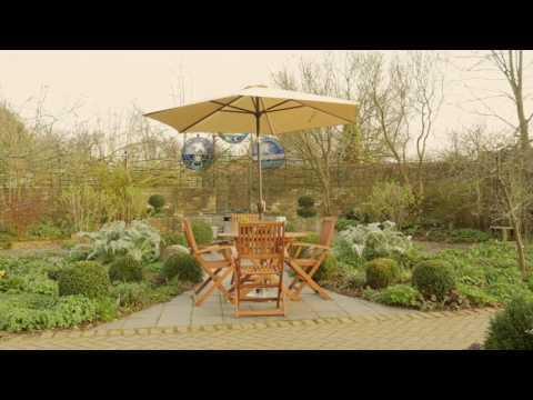 2.7m Garden Parasol with Mains Powered LED lights and USB Charging Socket - Cream