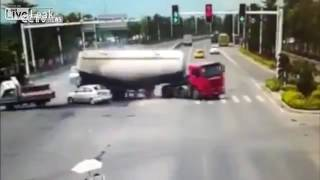 Zhangzhou China  city images : Cement Truck Crushing Car on a Crossroad in Zhangzhou, China