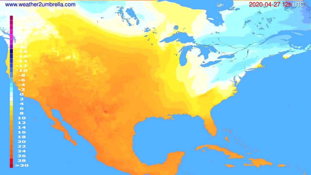 Temperature forecast USA & Canada // modelrun: 00h UTC 2020-04-27