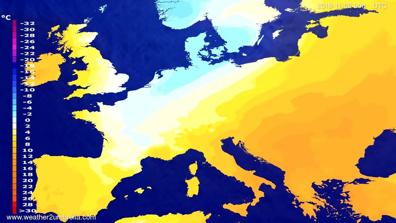 Temperature forecast Europe 2018-10-30