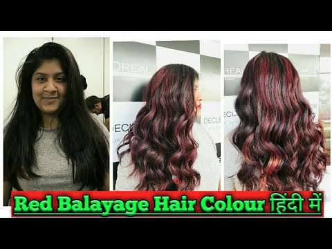 Hair color - How to : Balayage Red Hair Colour 2019/ in Hindi/ Tutorial /Transformation/Step by step/On Dark hair