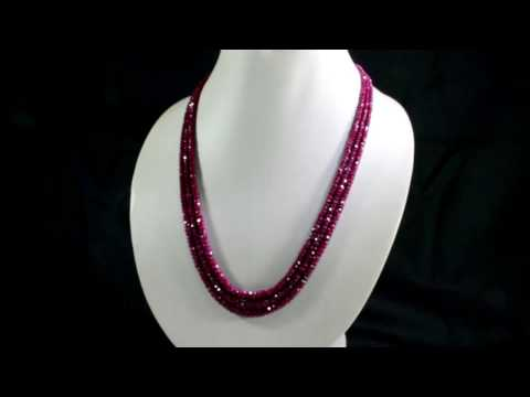 Multi Strands Natural Red Ruby 3mm Faceted Beads Gemstone Necklace
