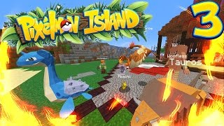 START OF OUR HOUSE + FIRST PLAYER BATTLE!  PIXELMON ISLAND SMP #3