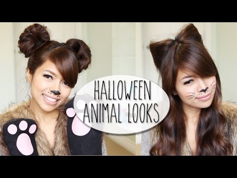 DIY Halloween Costume Ideas   Bear & Cat Ears Hairstyle & Makeup Tutorial