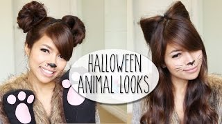 DIY Halloween Costume Ideas | Bear & Cat Ears Hairstyle & Makeup Tutorial - YouTube