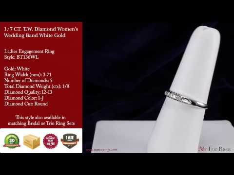 1/2 CT. T.W. Diamond 3 Ring Matching Wedding Set White Gold (BT136W)