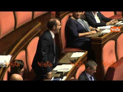 poletti - Bagarre in aula al Senato, durante la discussione sul Jobs Act. Il Movimento 5 Stelle contesta il ministro del Lavoro Poletti, mentre il presidente Grasso ch...