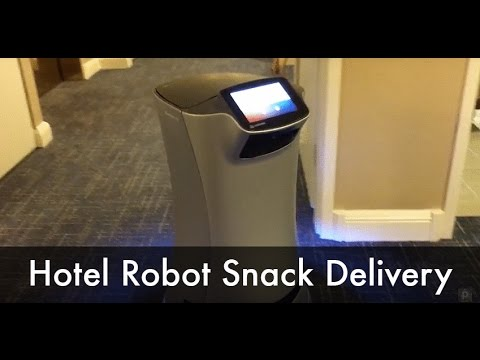 Hotel Room Service Robot Delivers Snack