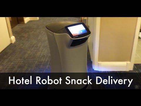 Hotel Room Service Robot Delivers Snack