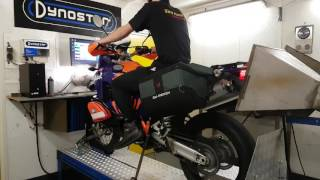 10. KTM 990 Adventure Bos exhaust. stock filter Dyno run warm up