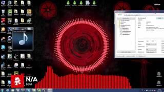 Rainmeter : https://www.rainmeter.net/VisBubble : http://undefinist.deviantart.com/art/VisBubble-for-Rainmeter-488601501hiTech: http://hekee.deviantart.com/art/Hi-Tech-HUD-RED-548424656Circle : http://hekee.deviantart.com/art/HUD-Circle-577479178MonsterCat : http://marcopixel.deviantart.com/art/Monstercat-Visualizer-for-Rainmeter-1-3-486330771