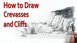 Visit http://www.art-tutorialsonline.com for more videosThe drawing tutorial explains, step by step, how to draw cliffs and crevasses step by step in a simple way that beginners can understand. This art tutorial explains how to draw and sketch cliffs, rock face and crevasses with a few curved and vertical lines and shows how the rock face can be made to look craggy by simply varying the angle of the line when applying tone.This art tutorial is aimed at beginners learning to sketch and children studying GCSE art and design and anyone wanting to learn to drawing techniques.