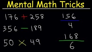 This math youtube video tutorial explains how to use a few simple mental math tricks as it relates to basic arithmetic concepts such as addition,  subtraction, multiplication, and division.