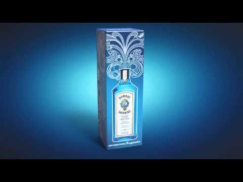 Świecące opakowanie ginu Bombay Sapphire