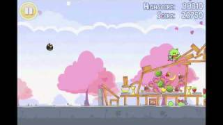 Angry Birds Seasons 3 star walkthrough for Hogs and Kisses level 1-2