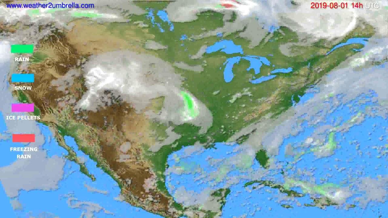 Precipitation forecast USA & Canada // modelrun: 00h UTC 2019-07-30