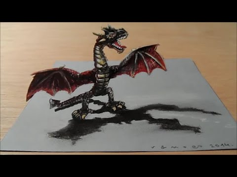 Video Drawing a 3D Red Dragon, Trick Art by Vamos download in MP3, 3GP, MP4, WEBM, AVI, FLV January 2017