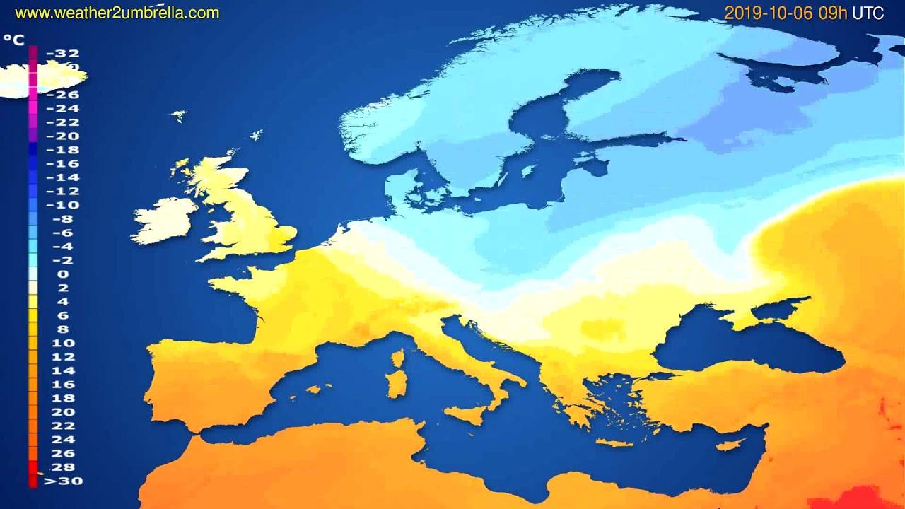 Temperature forecast Europe // modelrun: 00h UTC 2019-10-04