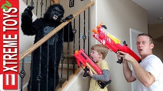 Ethan Vs. Cole Nerf Blaster Gorilla Costume Attack Madness!