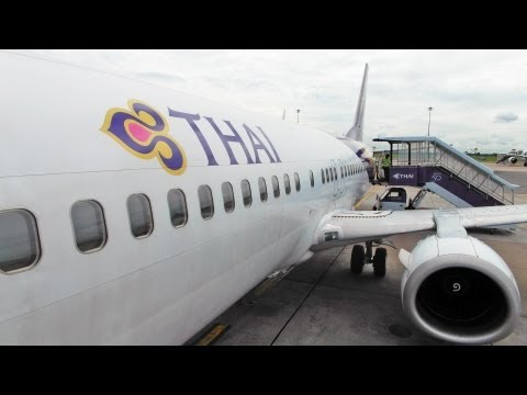 EXTENDED VERSION Thai airways TG233 Bangkok-HatYai by B737-4D7 การบินไทย