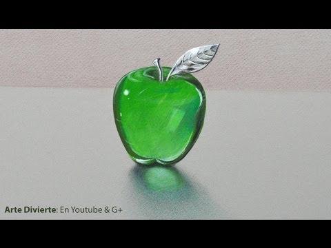 Cómo dibujar una manzana de cristal - manzana de acrílico verde - vidrio