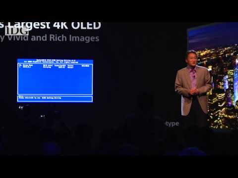 Sony\'s 4K OLED blue screens during CES presentation