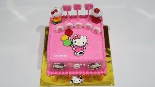 HELLO KITTY CAKE! CARA MEMBUAT KUE ULANG TAHUN - KUE ULTAH SEDERHANA - HOW TO MAKE BIRTHDAY CAKE Video