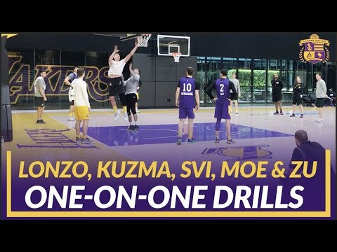 Video: Lakers Practice: Lonzo, Kuzma, Svi, Wagner, and Zubac Do 1-on-1 Drills