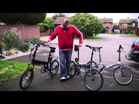 speed p8 folding bike - comparison between similar folding bikes, one electric and one standard.