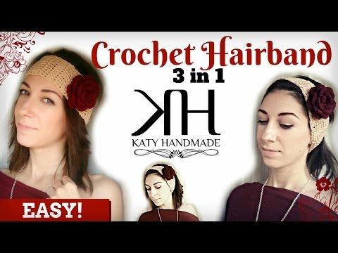 uncinetto - bellissima fascia per capelli con fiore