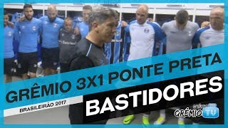 Dá uma olhada no vídeo de bastidores da vitória do Grêmio de virada sobre a Ponte Preta por 3 a 1. Os gols do Tricolor foram...