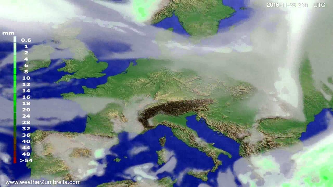 Precipitation forecast Europe 2016-11-26