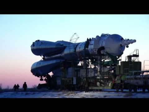 original channels rollout - The Soyuz TMA-03M spacecraft and its booster were moved to the launch pad at the Baikonur Cosmodrome in Kazakhstan on a railcar on December 19, 2011, for fin...