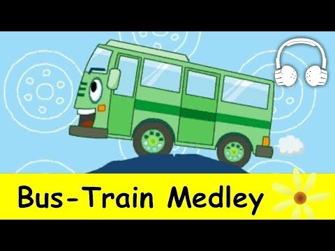 Muffin Songs - Bus Train Medley |  Nursery Rhymes Collection | Wheels on the Bus,