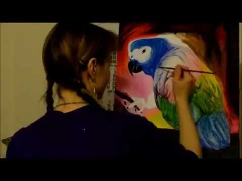 malen mit acryl papagei / painting with acrylic parrot