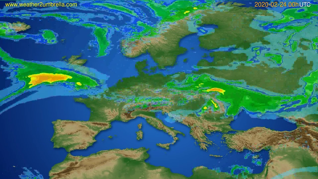Radar forecast Europe // modelrun: 12h UTC 2020-02-23