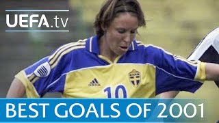 See a collection of superb efforts from the 2001 UEFA Women's EURO, including strikes by Hanna Ljungberg and Birgit Prinz.