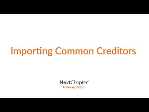 Training: Importing Common Creditors