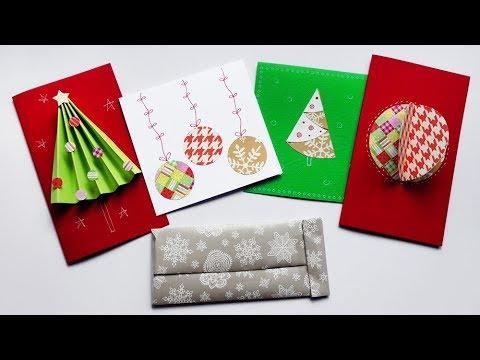 4 Biglietti d'auguri da fare coi Bambini + Porta soldi con Riciclo - Christmas cards for kids!