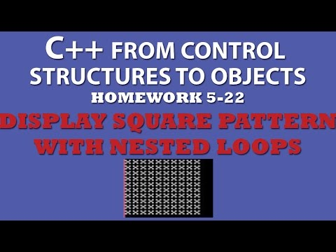 C++ Display Square Pattern (Ex 5.22) Using Nested For Loops