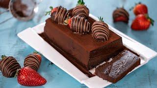 Chocolate Terrine with Chocolate Covered Strawberries
