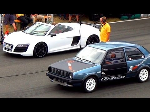 audi r8 v10 spyder vs vw golf 2 r32 turbo: drag race