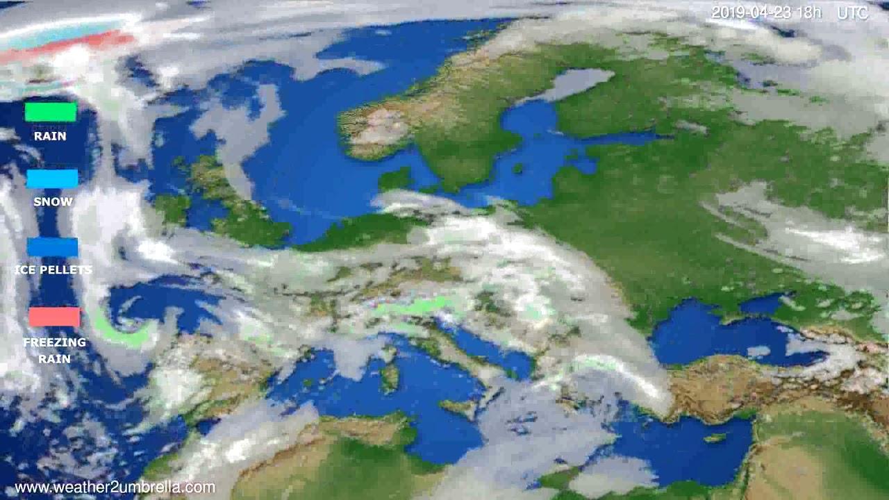 Precipitation forecast Europe // modelrun: 00h UTC 2019-04-21