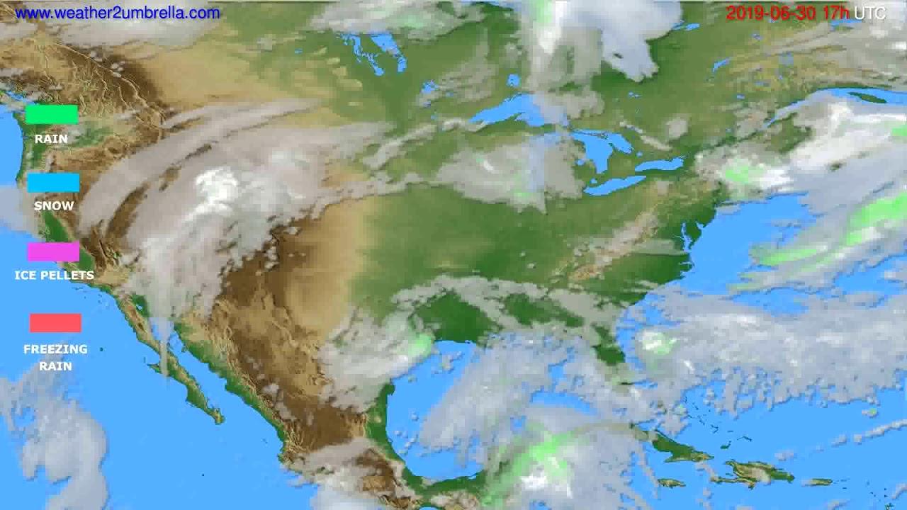 Precipitation forecast USA & Canada // modelrun: 00h UTC 2019-06-29